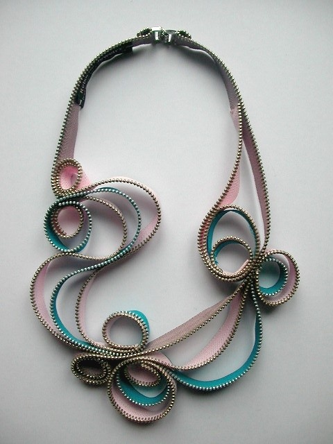 Soft Whirl Zipper Necklace by ReborneJewelry on Etsy, $85.00