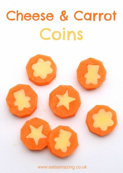 Fun food for kids tutorial - easy and healthy cheese and carrot coins - cute bento lunch box food idea for back to school from Eats Amazing UK
