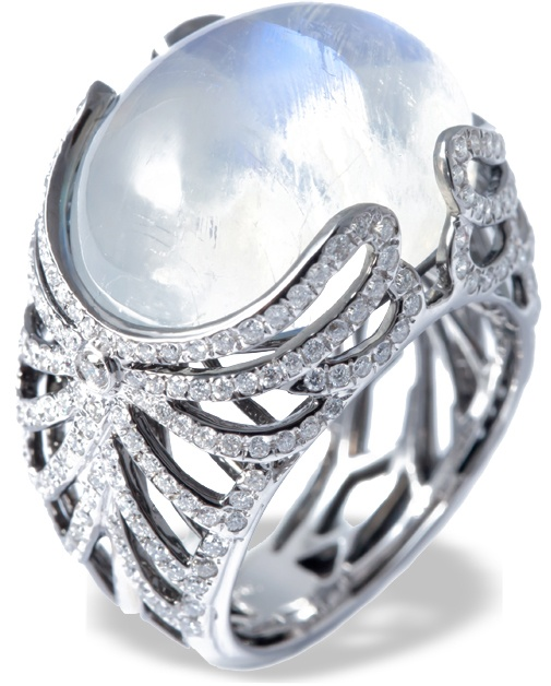 "Mvee ""Tudor's Touch"" Cupids Wings moonstone and diamond ring in white gold"