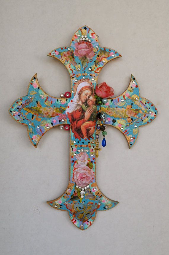 Virgen de guadalupe wooden cross religious mexican art for Our lady of guadalupe arts and crafts