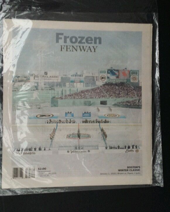 Frozen Fenway Bostons Winter Classic Newspaper Souvenir from Boston Globe 2009