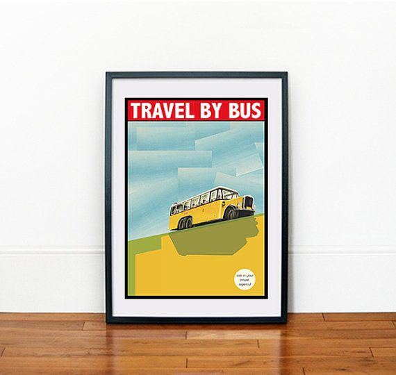 Vintage Giclée Art Print A3 Travel by Bus by thegretest on Etsy, $35.00