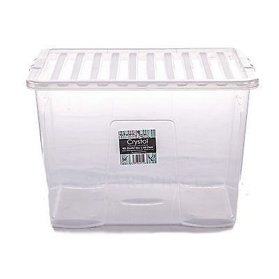 large plastic storage box container store 80 l under stairs wham clear lid