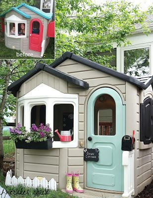 Plastic playhouse makeover: http://freckleschick.blogspot.com/2015/05/pretty-little-playhouse.html