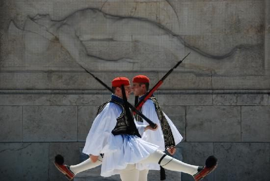 Changing of the guard at the Tomb of the Unknown Soldier in Athens, Greece. I've seen it, and it was SO COOL.