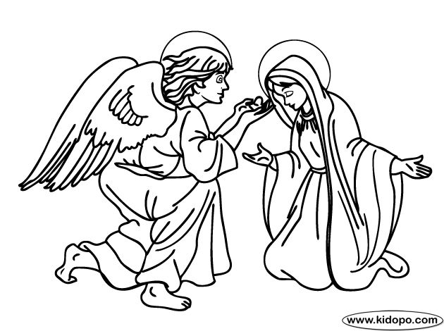 Angel gabriel appears to mary catholic kids coloring for Mary and gabriel coloring page