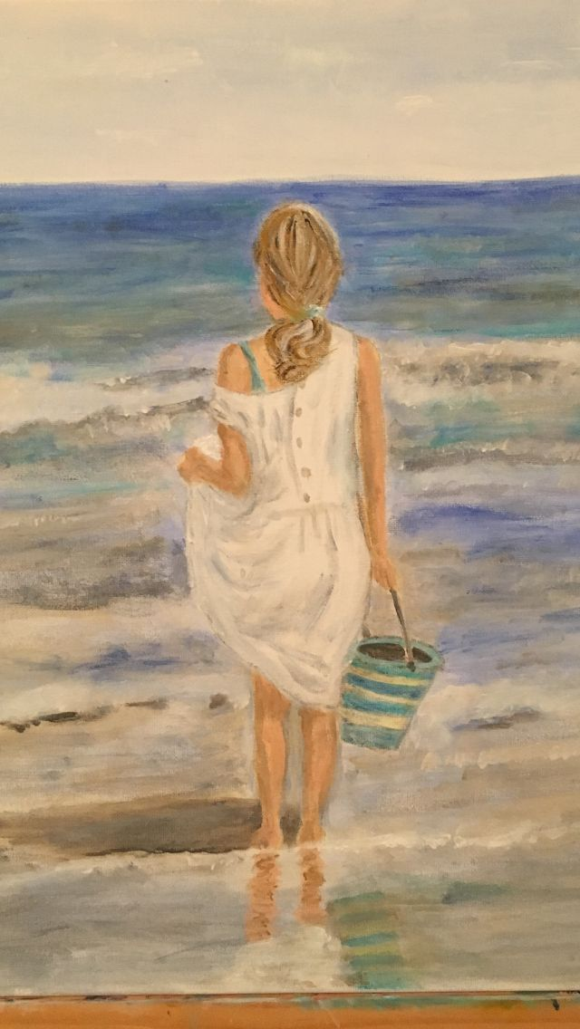In the middle of painting girl at beach - just a few more details and depth of colour.