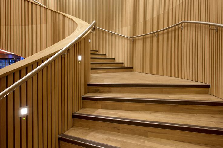 GROOVE Wall lights by Optelma. Recessed into wooden cladding. #WallLights #Lighting #LightingDesign #Architecture #FeatureLighting #LED #Stairway #InteriorDesign