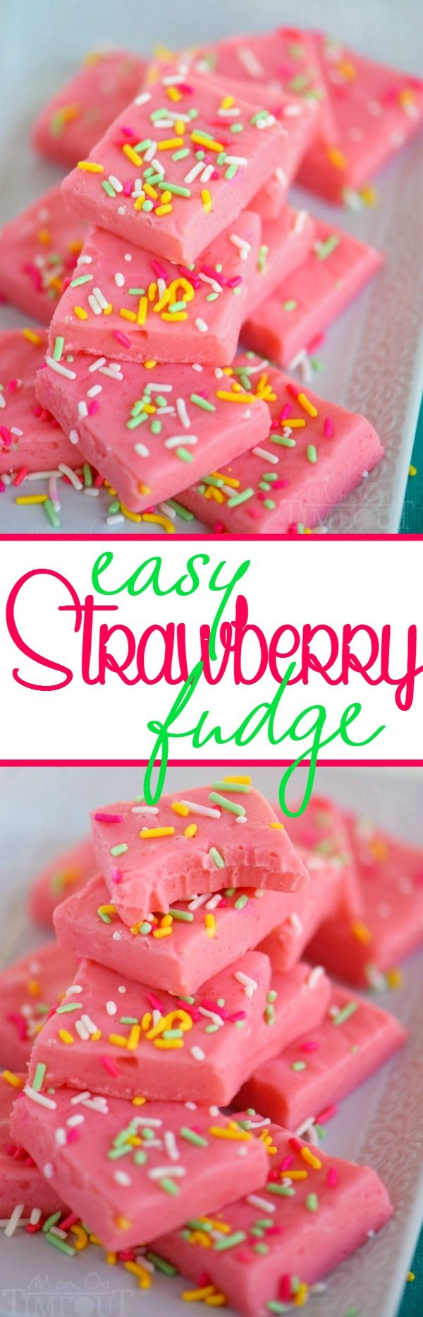 This Easy Strawberry Fudge takes just three ingredients and tastes like summer!  Pretty and pink, this fudge is so much fun to eat! Whip up a batch today!
