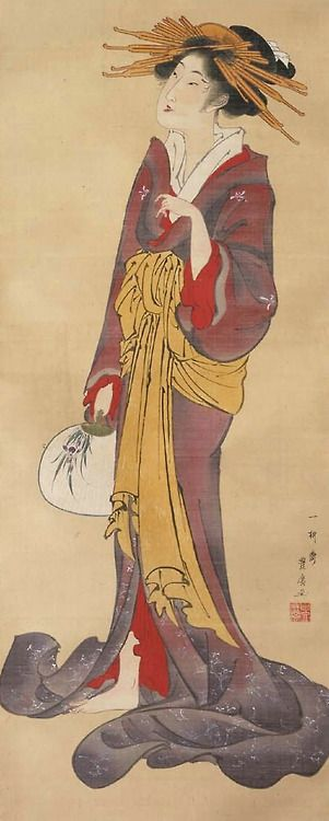 Courtesan listening to a cuckoo.  Main detail of  hanging scroll; ink and color on silk, 1804–30 ,  Japan, by artist Utagawa Toyohiro.  MFA (William Sturgis Bigelow Collection)