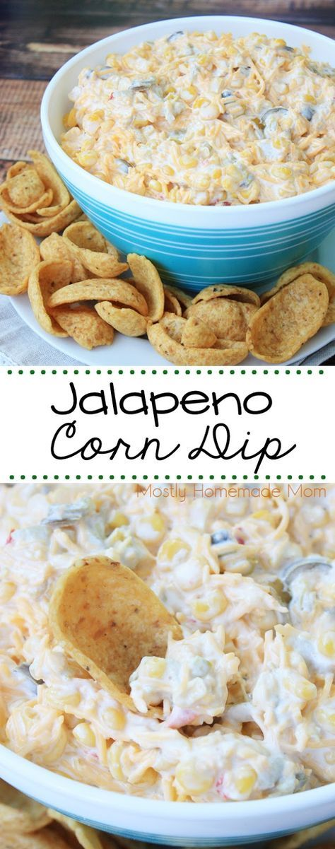 Jalapeno Corn Dip - takes minutes to make! Sweet corn, peppers, jalapenos, and cheese - don't forget the corn chips!