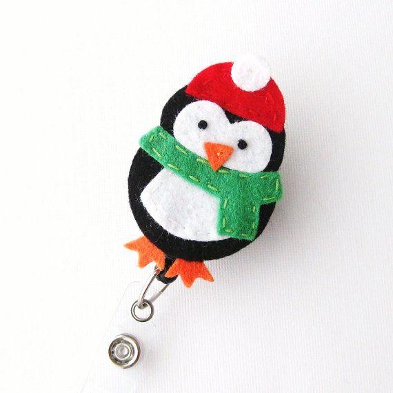 Chilly Penguin - Holiday Badge Holders - Cute Badge Reels - Unique Retractable ID Badge Holder - Felt Badge Reel - RN Badge - BadgeBlooms on Etsy, $6.00