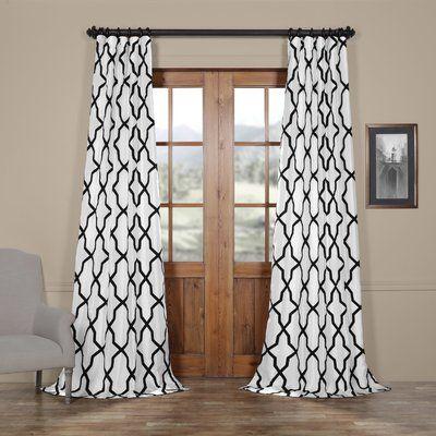 Mercer41 Merseles Pinnacle Flocked Faux Silk Single Curtain Panel