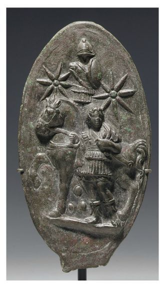 #AlexanderTheGreat of the #ancient #Greek kingdom of #Macedonia , depicted on a A ROMAN BRONZE PLAQUE CIRCA 1ST-2ND CENTURY A.D. | Christie's - #bucephalus and the #panhellenic #sun also known as the #vergina sun, #argead and #macedonian sun.