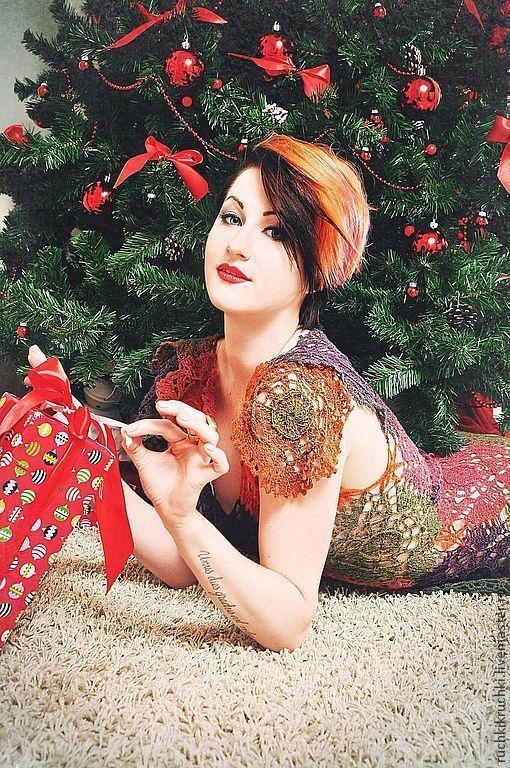 """Купить Платье крючком """"Пряные рождественские звезды"""" из тонкой шерсти - платье вязаное, платье крючком"""