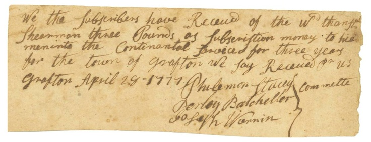 A Woman's Financial Aid for the Continental Army, Acknowledged by 3 Lexington Alarm Minutemen OfficersAlarm Minutemen, Minutemen Offices, Woman, Finance Aid, Continents Army, Continental Army, Financial Aid, Revolutionary Wars, Lexington Alarm