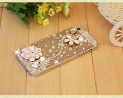Obal z tvrdeného plastu so šperkom na iPhone 5 / 5S - kvet biely
