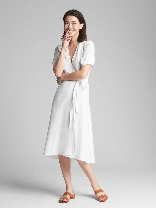 4cd68bdaf1f Gap Womens Wrap Midi Dress In Linen-Cotton White
