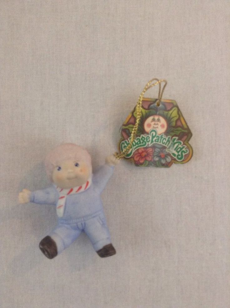 1983 Cabbage Patch Kids Boy Figurine Blue Clothes Scarf Happy