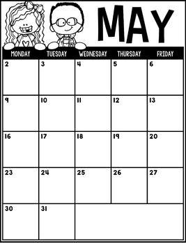 Editable Calendar 2020-2021 (English|Spanish|French ...