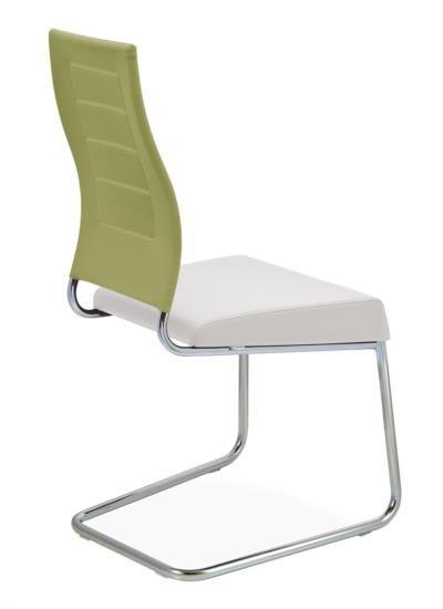 Sedia in metallo, tessuto ed ecopelle con gambe a slitta
