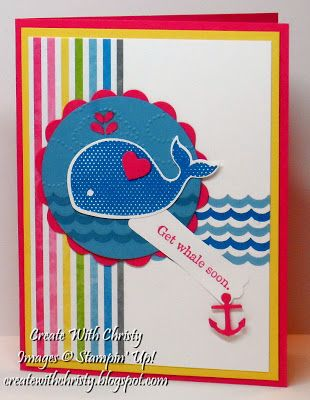 Stampin' Up! Oh, Whale Get Well Card, Christy Fulk, SU! Demo