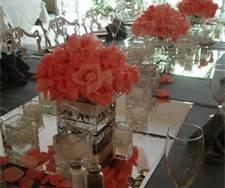 White vase coral flowers wedding reception - Bing Images