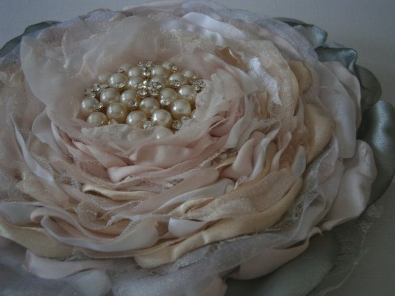 Fabric flower in white blush pink gray cream extra by Flowears, $58.50