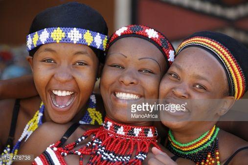 Three young Zulu women of South Africa