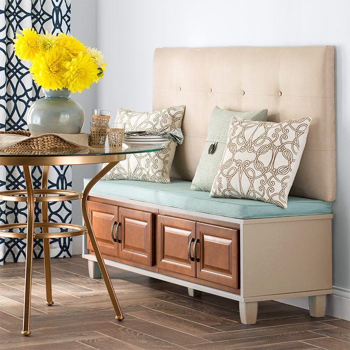 Turn stock cabinets and MDF into a stylish bench suitable for a spot in a dining area, at the end of a bed, or in an entryway.