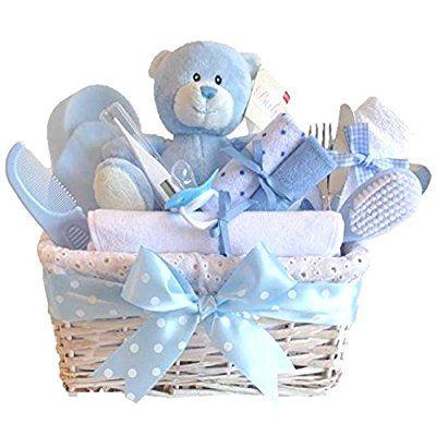 Angel DELUXE White Wicker Baby Boy Gift Basket / Baby Hamper / Baby Shower Gift / New Arrival Gift / Baby Keepsake / FAST DISPATCH