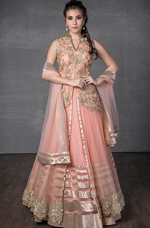 Net ghagra-set with long jacket embellished with zari and stone