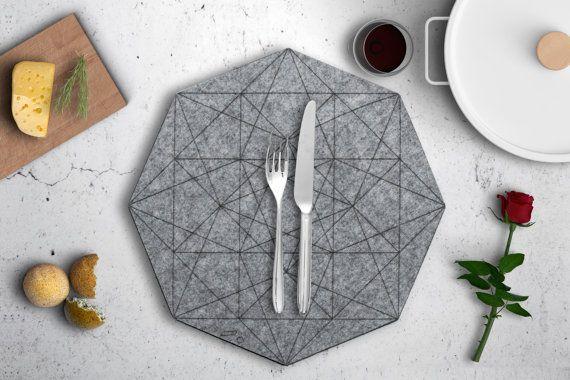 Hexagon Felt Placemat Gray Fabric Placemat Round Circle
