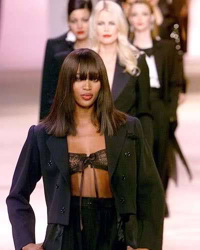 British top-model Naomi Campbell  present women's tuxedos for veteran French designer Yves Saint Laurent: Women Tuxedo