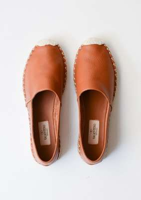 Camel Leather Espadrilles // Valentino