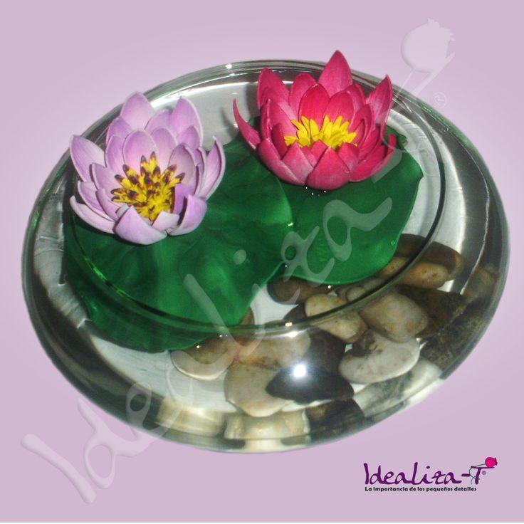 Flores de loto realizadas en goma eva y pintadas a mano - Flore de goma eva ...
