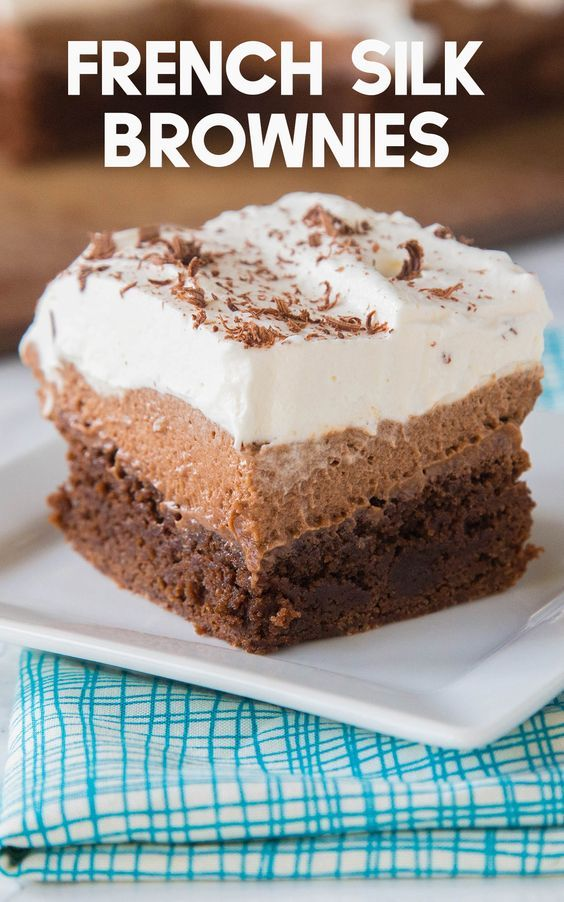 French Silk Brownies-Classic French Silk Pie turned into fudgy brownies topped with a silky chocolate mousse and whipped cream. This dessert is a chocolate lover's dream and perfect for parties and celebrations as well as an after dinner dessert on a regular week day night. They also make a fun sweet treat to bring to a potluck at church or sports or school celebration. Mother's and Father's Day are much sweeter when you surprise those you love with this yummy recipe.