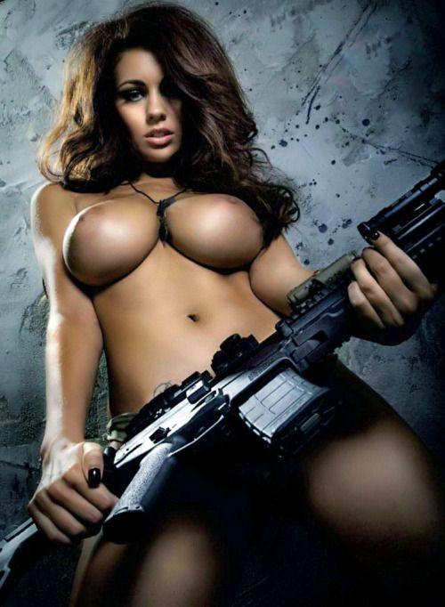 Naked girl with gun