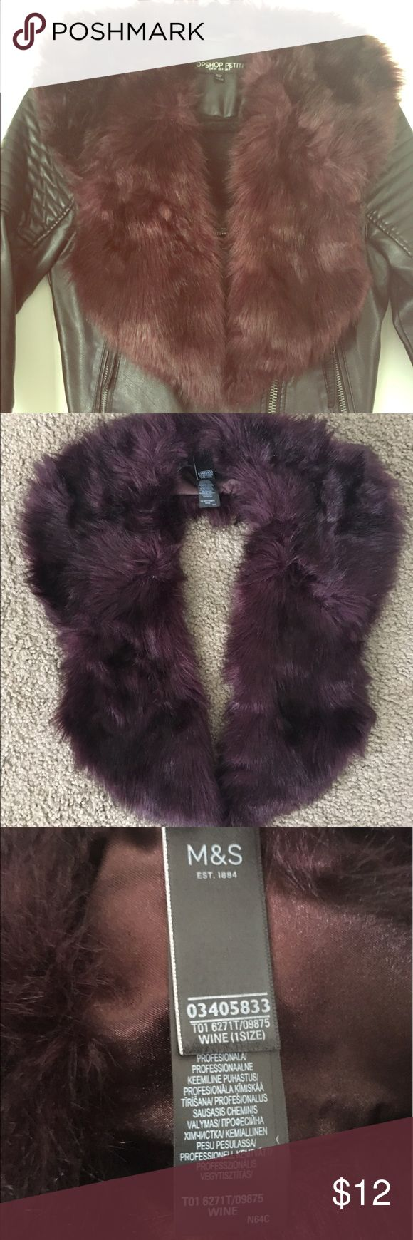MARKS & SPENCER Faux Fur Collar Scarf Up your winter style game with this stylish faux fur collar scarf! Hook and eye closure, easily slips over any coat or sweater (leather jacket shown for styling purposes, not included). Lovely deep wine color. Never worn. Marks & Spencer Accessories Scarves & Wraps