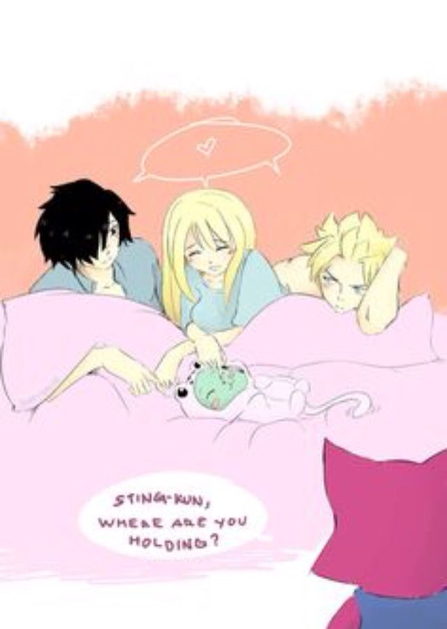 Rogue and Lucy and sting- I don't ship Stinglu but I thought this was funny and…