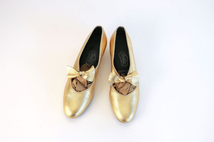 Vintage Vtg Vg 1950's 50's Barbette's Dancewear Gold Metallic Ballet Shoes with Bow Feminine Romantic Leather Uppers Made in USA Women's 8 9 by foxandfawns on Etsy