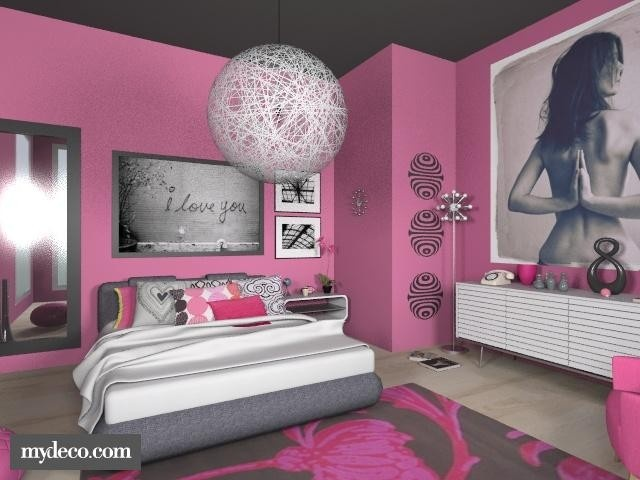 Silver Black And Pink Bedroom   Google Search