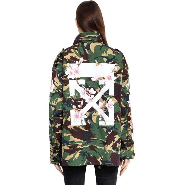 Off White Women M65 Camo & Cherry Blossom Field Jacket (€1.800) ❤ liked on Polyvore featuring outerwear, jackets, green, army print jacket, green military jackets, camo military jackets, field jackets and green army jackets