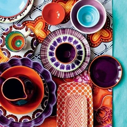 Such a beautiful array of brightly coloured, textures and  patterns in this crockery. Love it. JH