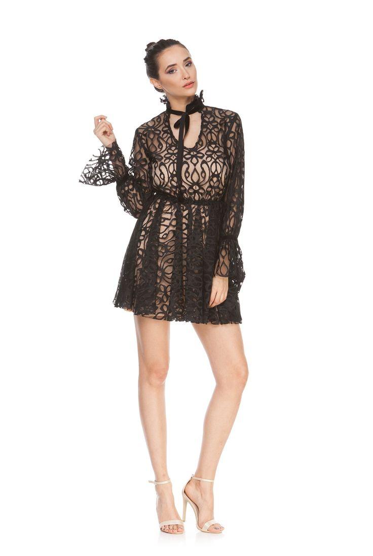 Rochie neagra din dantela cu maneca lunga DARIA de la Ama Fashion