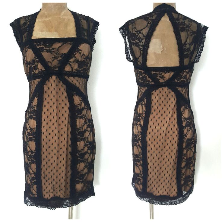 B. Darlin Lace Nude Illusion Dress Size Large Black Stretch Cocktail Party  #BDarlin #StretchBodycon #Cocktail