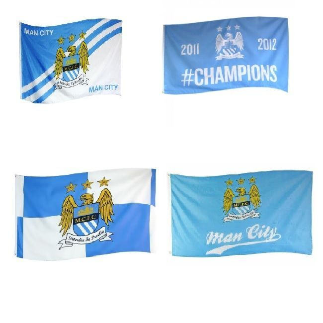 OFFICIAL MANCHESTER CITY FOOTBALL CLUB  FLAGS 5ft x 3ft