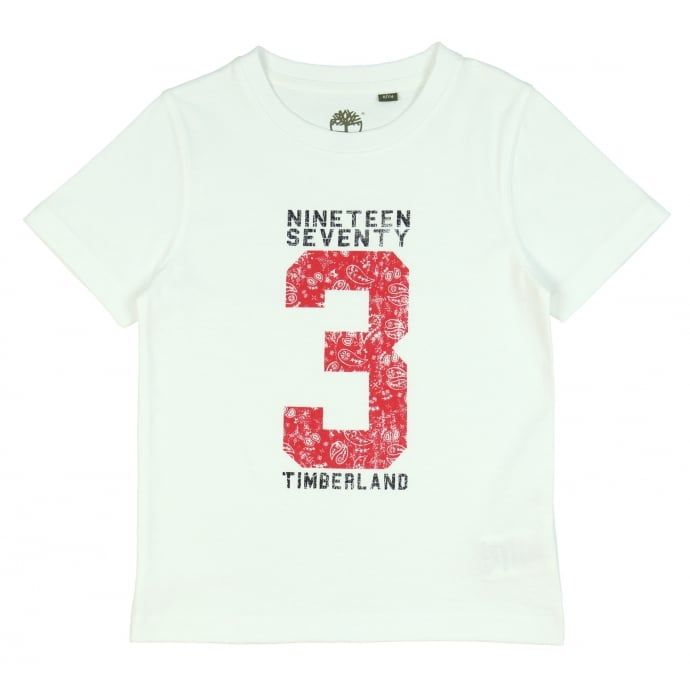 Timberland Boy's White T-Shirt with Red Number Print. Now available at www.chocolateclothing.co.uk
