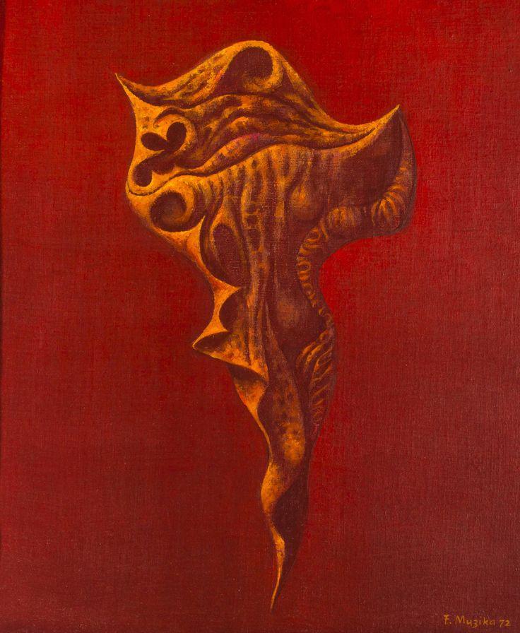 František Muzika - Larva XIV in red (1972) #painting #Czechia #art #CzechArt