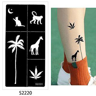 Henna Tattoo Stencil Airbrush Painting Glitter Drawing DIY Body Paint